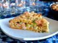 Slice of salmon and rice pie