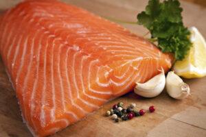 Salmon fillet on plank